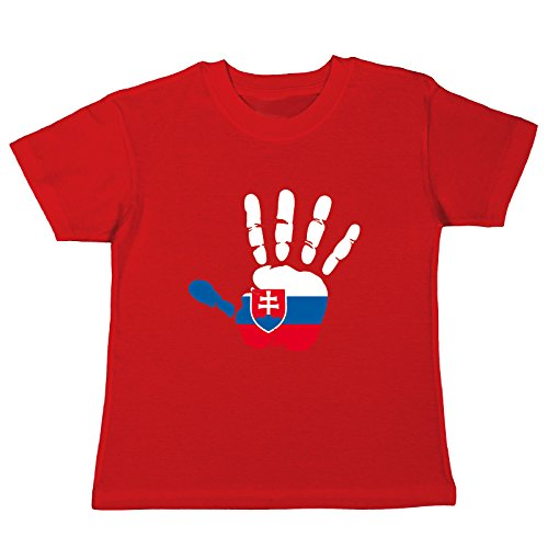 pinkelephant Kinder-T-Shirt Slowakei Fahne Hand Abdruck Palm Print Finger Mano - rot 128 (7-8 Jahre)