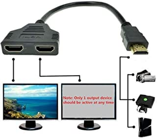 look see 1080P HDMI Male to Dual HDMI Female 1 to 2 Way Splitter Cable Adapter Converter for DVD Players/PS3/HDTV/STB and Most LCD Projectors(Black)
