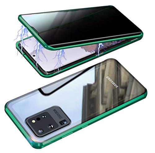 RANYOK Compatible Galaxy S20 Ultra (6.9 inch) Privacy Magnetic Case, Double-Sided Tempered Glass with Built-in Screen Protector 360° Full Body Metal Frame Cover (Green)