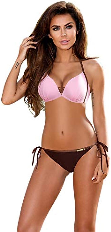 WAZTL Patchwork Bikini Set Frauen Frauen Frauen Push Up Badeanzug Gepolsterte Badebekleidung Halter Sommer Schwimmen Anzug Beachwear XXL XL Rosa B07PW4BXBF  Zuverlässige Qualität 636aff