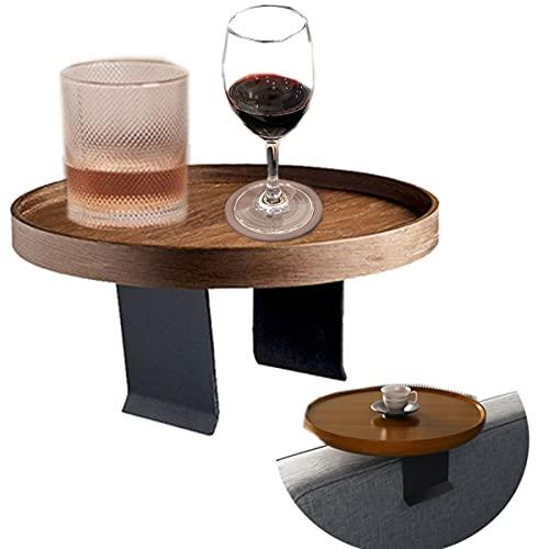 Mesa de la bandeja del brazo del sofá, bandeja plegable portátil del apoyabrazos de la moda en la mesa del brazo del sofá, mesa redonda de madera maciza de lujo de la luz Mesas laterales de café