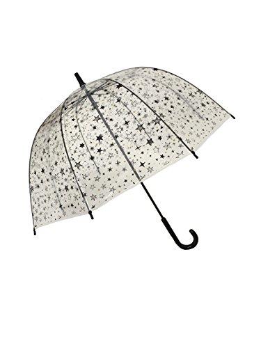 Smati Ombrello lungo–Campana resistente al vento–Stelle–smartbulle ombrello canna, 66cm, trasparente(Ragazza)