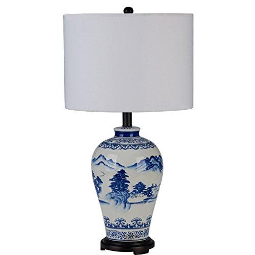Lxqlan Sala de estar clásica Lámpara de mesa de porcelana azul y blanca Lámpara de mesa de escritorio nueva de estudio chino Cama pintada a mano