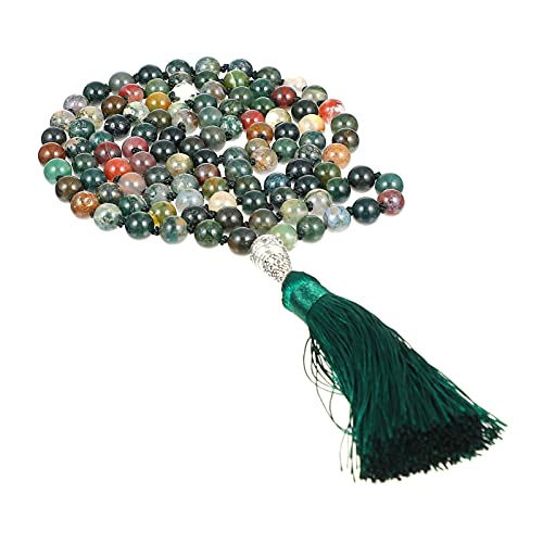 HEALLILY Stone Bead Tassel Pendant Necklace Buddha Beads Mala Wrap Bracelet Necklace Bead Garland for Women Men Agate