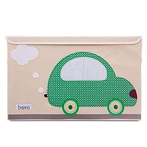 bisoo - Baul para Juguetes - Caja De Almacenaje - Cofre Infantil - Cierre Magnetico - Arcon Plegable - Coche Clasico De Felpa - Capacidad XXL