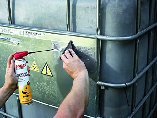 SONAX KlebstoffRestEntferner mit EasySpray (400 ml) schnelle, rückstandslose Entfernung von Klebstoffresten z. B. Etiketten, Folien, Aufklebern, usw. | Art-Nr. 04773000 - 4