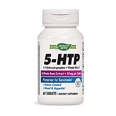 Nature's Way 5-HTP, L-5-Hydroxytryptophan, Vitamin B6 & C, Griffonia Bean Extract 50 mg, 60 Count