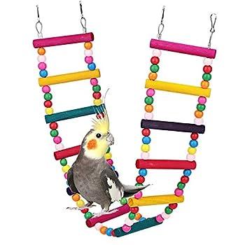 ASOCEA Jouet à suspendre pour perroquet, balançoire, pont, jouets d'escalade, hamac, cage pour petits et moyens poules, inséparables, calopsittes, conures, pinsons