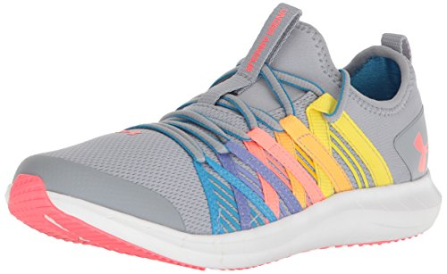 Under Armour Girls' Grade School Infinity Sneaker, Overcast Gray (104)/Elemental, 6
