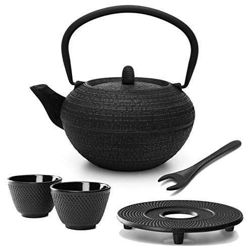 Tetera redonda de hierro fundido, 1,2 litros, incluye filtro de filtro, platillo de hierro fundido, 2 tazas de té y elevador de tapa, color negro