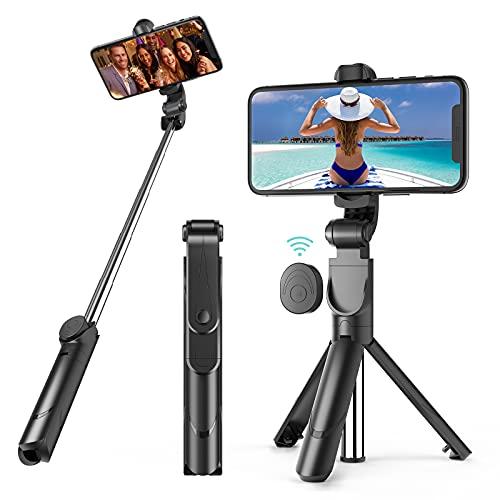 Bastone Selfie Bluetooth, Mini Estensibile 3 in 1 Selfie Stick Treppiede con Telecomando Wireless per Smartphone