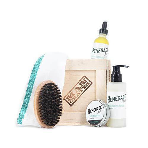 Beard Wrangler Mini Crate by Man Crates – Includes Beard Shampoo, Beard Balm, Grooming Oil, Beard Brush – 100% Natural Oils – Unique Gift for Men