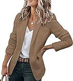 Tomwell Mujer Blazer Chaqueta de Traje Slim Fit Elegante Casual Oficina Negocios Color Sólido Abrigo OL Solapa Manga Larga Chaqueta de Traje para Mujer Outwear Top Caqui Oscuro S