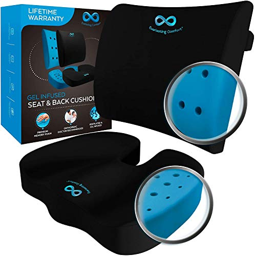 Everlasting Comfort Memory Foam Seat Cushion and Lumbar Pillow Combo - Gel Infused and Ventilated - Back Pain Relief