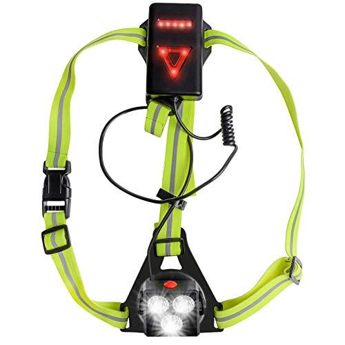 Urslif Luce Corsa Ricaricabile USB, Luci correnti Lampada Corsa con Luce di Avvertimento Dietro Perfetto per Jogging, Camminare, Campeggio, Lettura, Corsa, Pesca, Arrampicata (Verde fluorescente)