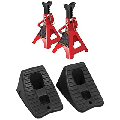 Double Locking Jack Stands and Tire Hugger Wheel Chock Set