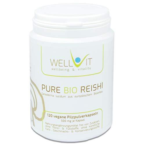 Pure Bio Reishi 120 Kapseln je 500mg Ling-Zhi, aus EU-Bio-Landwirtschaft, vegan, ohne künstliche Zusatzstoffe