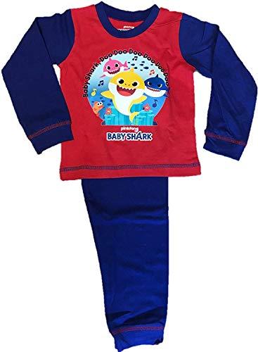 Jungen Kinder Baby Ärmel Charakter Shark Schlafanzug Pyjama Lang - Multi, 86-92