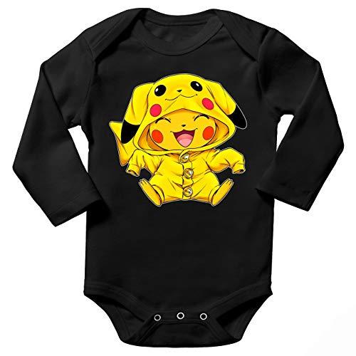 Okiwoki Body bébé Manches Longues Noir Parodie Pokémon - Pikachu - Le Cosplayer Ultime !!(Body bébé de qualité supérieure de Taille 18 Mois - imprimé en France)