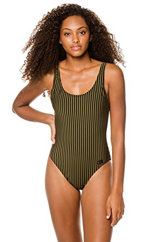 Solid & Striped Women's Anne Marie Over The Shoulder One Piece Swimsuit Olive Stripe S