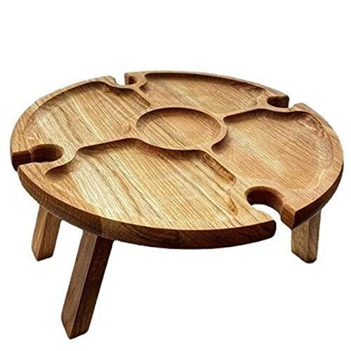 Mesa de picnic al aire libre Escritorio de madera portátil para vino Mesa de playa redonda plegable con soporte de vidrio y bandeja divisoria de alimentos para jardín, playa, camping, senderismo