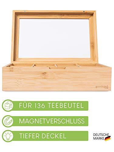 goodspot® Teebox aus Bambus mit 8 Fächern 30 x 19 x 9 cm Teekiste mit luftdichtem Magnetverschluss nachhaltige Tee Box mit extra großer Sichtscheibe
