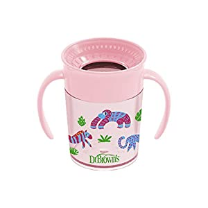Dr. Brown's Cheers 360 Spoutless Training Sippy Cup with Handles for Babies & Toddlers 6m+, 7oz, Pink Animals