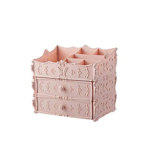 OYZK Organizador de Maquillaje Transparente Caja de Almacenamiento Caja de Almacenamiento Cajón Organizador de Escritorio Joyería Bins Bins Blipstick Beauty Box Dropshipping (Color : 2CengPink)