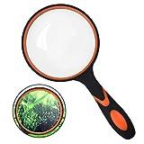 Lupa 10X, YMWALK 75 mm Lupa de lectura de mano para personas mayores y niños, Lente de aumento de vidrio real para libros de lectura, inspección, observación de insectos y pasatiempos (naranja)