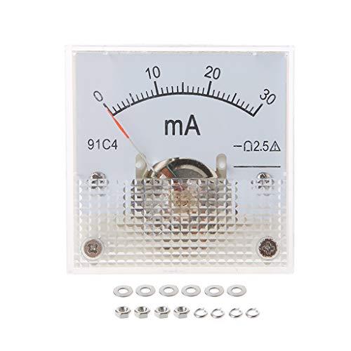 VAILANG 91C4 Amperemeter DC Analog Current Meter Panel Mechanischer Zeiger Typ 1/2/3/5/10/20/30/50/100/200/300 / 500mA A Mechanische Amperemeter 30mA