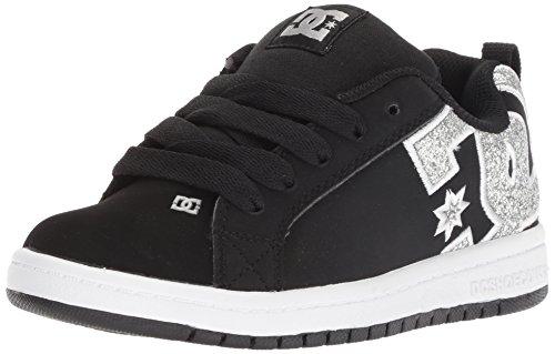 DC Youth Court Graffik Skate Shoes, Black/Silver, 11.5 M US Little Kid