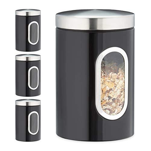 Relaxdays 4 x Vorratsdose, 1,4 L, mit Deckel und Sichtfenster, für Kaffee, Mehl, Pasta, Aufbewahrungsdose Küche, Metall, schwarz