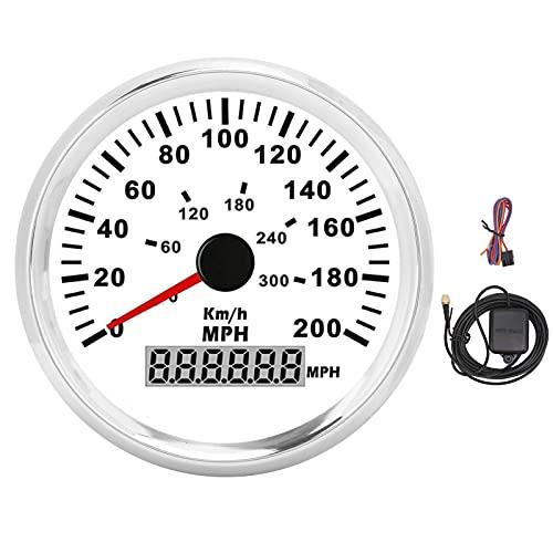 Velocímetro GPS de 85 mm, odómetro, indicador de velocidad GPS, 200 MPH, 0‑300 KM/H, IP67, retroiluminación roja LCD para coches de 12 V / 24 V, barcos