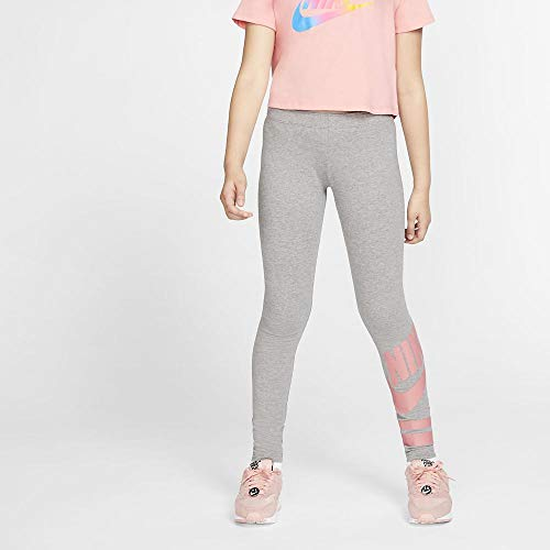 Nike Mädchen G NSW LGGNG Favorite GX3 Sport Trousers, Carbon Heather/pink Gaze, M
