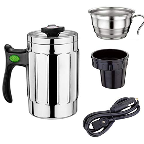 Car Electric Kettle, 12V Car Kettle Boiling Water Cup Stainless Rice Cooker Electric Heating Mug