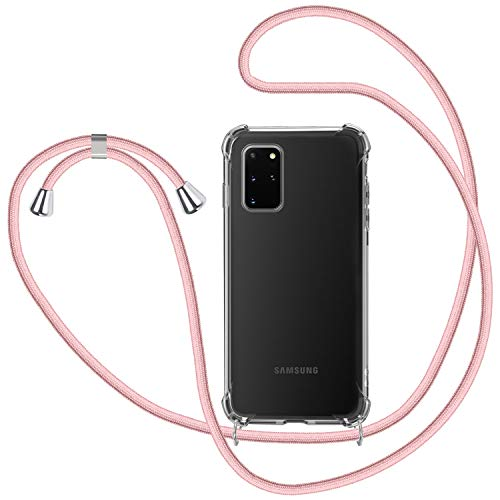 Funda con Cuerda para Samsung Galaxy S20 Plus, Carcasa Transparente TPU Suave Silicona Case con Correa Colgante Ajustable Collar Correa de Cuello Cadena Cordón - Oro Rosa