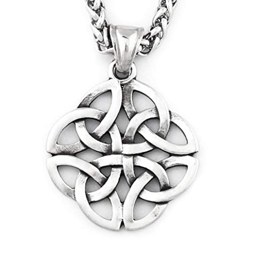 Warvik Irish Celtic Knot Round Pendant Necklace Power Protection, Stainless Steel Jewelry Mens Womens Wheat Chain 20/28inch