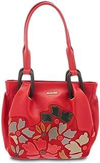 GIUDI ® - Borsa Donna in pelle vitello, vera pelle, Made in Italy, tracolla, applicazione petali. (Rosso chiaro)