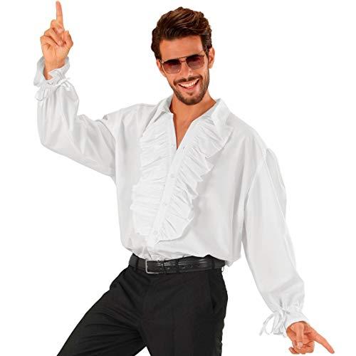 NET TOYS Extravagantes Rüschenhemd Barock für Herren - Weiß M/L (50/52) - Schickes Männer-Hemd Pirat & Mittelalter - Perfekt geeignet für Piratenparty & Karneval