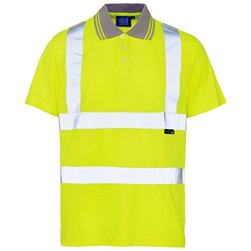 Hi Viz Herren Polo-Kragen-T-Shirt mit Vogelaugen-Motiv, kurzärmlig Gr. XXL, gelb