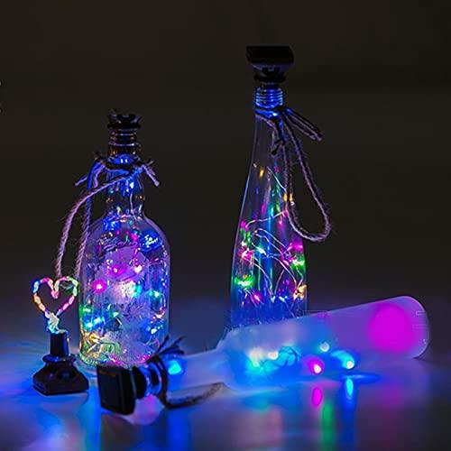 NGLSCXR 10 PCS LED LED Botella de vino Luces con alambre de plata de corcho Luces de corcho Accionado por batería Hadas Mini String Lights Luz de hada solar cubierta al aire libre con bulbos para jard