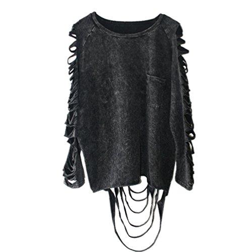 Dooxi Damen Langarm Rundhals Sweatshirts Mode Individualität Punk Sweatshirt Pullover Quaste Ripped T-Shirts Tops Schwarz