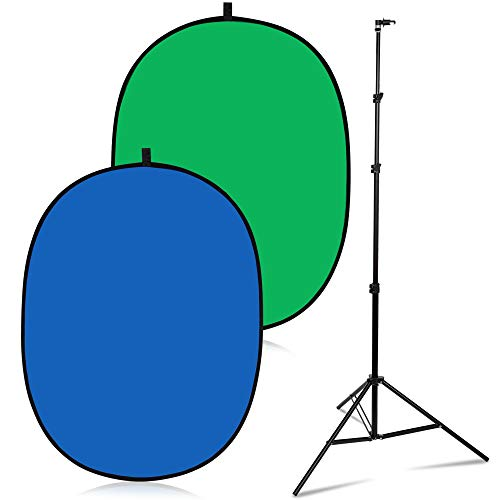 RemoteOffice 5' x 7' Portable Green Screen Backdrop & Stand Kit   Double Sided Collapsible Blue and Green Chroma Key Background with Stand