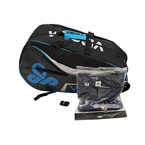 Paletero Mochila de Padel Vibor-A Mamba Azul + Camiseta Siux Team + Overgrip Siux/Fundas y Mochilas pádel para Hombre Mujer Niño Niña/Paleteros Amplios y Resistente/Pack y Accesorios