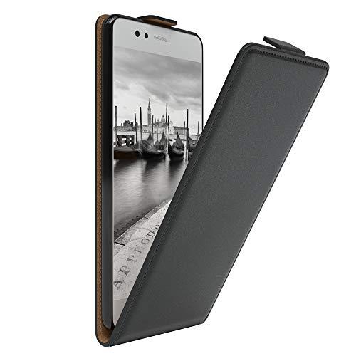 EAZY CASE Hülle kompatibel mit Huawei P10 Flip Cover zum Aufklappen, Handyhülle aufklappbar, Schutzhülle, Flipcover, Flipcase, Flipstyle Hülle vertikal klappbar, aus Kunstleder, Schwarz