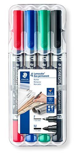 Staedtler Lumocolor duo 348 WP4 permanent marker, 4 Stück in aufstellbarer Staedtler-Box , Schwarz, Blau, Grün, Rot, 1 Packung