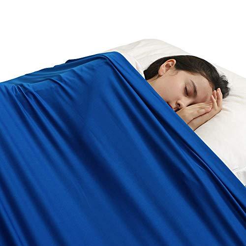 HYCy Sensory Compression Blanket Sensorisches Bettlaken für Einzelbettmatratzen - Fester Druck zum Beruhigen und Entspannen des Schlafes - Dehnbar, atmungsaktiv (Single, Blau)