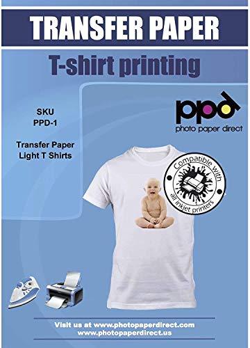 PPD A4 x 5 Hojas de Papel de Transferencia Térmica Para Camisetas, Mascarillas y Tejidos Claros - Para Impresora de Inyección de Tinta Inkjet - PPD-1-5