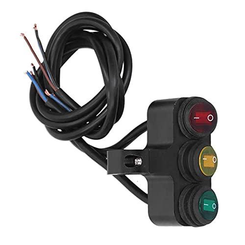 FangFang Interruptor de alimentación del automóvil Interruptor de automóvil Relé 12V 7 / 8IN Interruptor de manillar 3 botones Feurlights impermeables Controlador de focos con