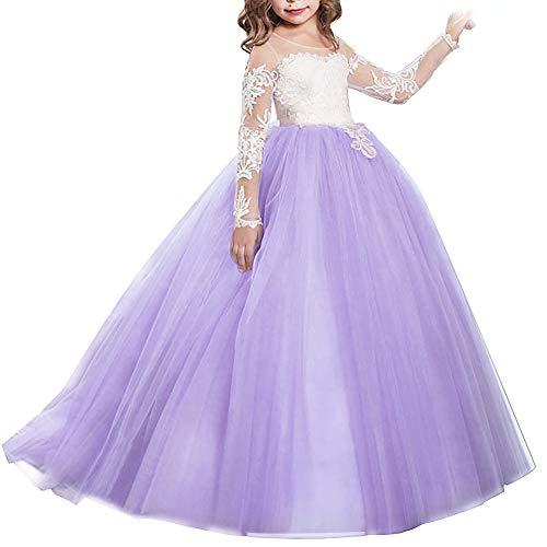 IBTOM CASTLE Vestido de niña de Flores para la Boda Niños Largo Gala Encaje De Ceremonia Fiesta Elegantes Comunión Paseo Baile Pageant Damas De Honor Coctel Vacaciones Noche De Princesa